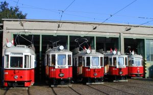 Some of the Rent a Bim vintage trams available for special trips through Vienna